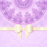 Purple vintage lacy wedding card template Stock Photography