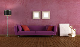 Purple vintage living room Stock Images