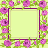 Purple vintage peonies around frame with copyspace for wedding invitation, marriage card, congratulation banner, advertise Royalty Free Stock Photo