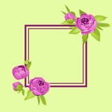 Purple vintage peonies around frame with copyspace for wedding invitation, marriage card, congratulation banner, advertise Stock Image