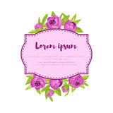 Purple vintage peonies around frame with sign for wedding invitation, marriage card, congratulation banner, advertise Stock Photography
