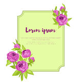 Purple vintage peonies around frame with sign for wedding invitation, marriage card, congratulation banner, advertise Royalty Free Stock Photos