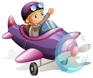 A purple vintage plane. Lllustration of a purple vintage plane on a white background Stock Images