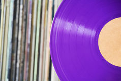 Purple vinyl record Stock Photos