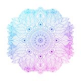 Purple floral mandala vector. Purple violet blue gradient coloring mandala, vibrant floral ornament in boho style, or hippie, gipsy, isolated on white background royalty free illustration