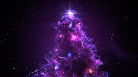 Purple Violet Nebula Christmas Fir Tree background seamless loop 4k resolution. stock footage