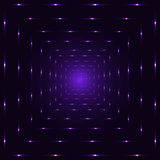 Purple violet neon laser perspective abstract spiritual tunnel, violet punctuated square lines Royalty Free Stock Photography