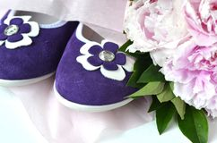 Purple violet suede leather ballerina flats shoes