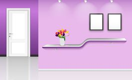 Purple wall background with frames and flowers pot over. Illustration of Purple wall background with frames and flowers pot over shelf Royalty Free Stock Photography