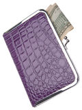 Purple Wallet with Money Stock Photos