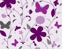 Purple wallpaper. With flowers and butterfly Stock Photography