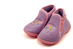 Purple warm baby shoes Royalty Free Stock Photos