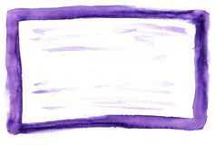 Purple watercolor hand drawn frame colorful background Royalty Free Stock Image