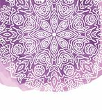Purple watercolor paint background with white hand drawn round doodles and mandalas. Design of backdrop royalty free illustration