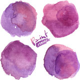 Purple watercolor painted vector stains set Royalty Free Stock Photography