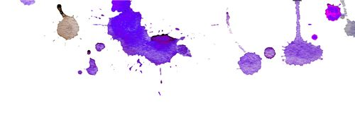 Purple watercolor splashes and blots on white background. Ink painting. Hand drawn illustration. Abstract watercolor artwork. Purple blue watercolor splashes stock illustration