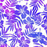 Purple watercolor vector hibiscus seamless pattern Stock Images