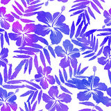 Purple watercolor vector hibiscus seamless pattern Royalty Free Stock Photo