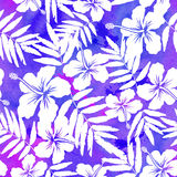 Purple watercolor vector hibiscus seamless pattern Stock Photo