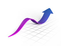 Purple wave arrow graph Stock Images