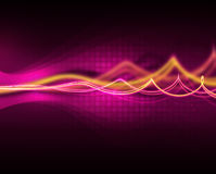 Purple waves. Yellow and purple fractal waves on dark background Royalty Free Stock Image