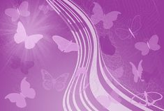 Purple waves and butterfly. Purple and pink floral design corner element Royalty Free Stock Images