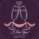 Purple wedding card with two glass of wine and wishes text Royalty Free Stock Image