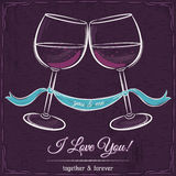 Purple wedding card with two glass of wine and wishes text Royalty Free Stock Photos