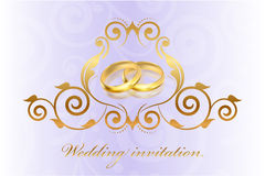 Purple wedding invitation with gold rings Stock Photography