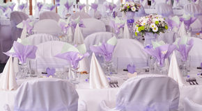 Purple wedding tables Royalty Free Stock Image