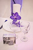 Purple wedding tables Stock Photos