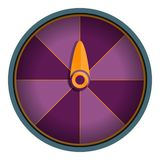 Purple wheel fortune icon, cartoon style royalty free illustration