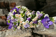 Purple and white bridal bouquet Stock Images