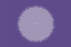 Purple white dotted halftone. Halftone  background. Centered rough dotted gradient. Retro futuristic texture. Purple dot on transparent backdrop. Abstract Royalty Free Stock Photo