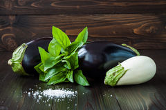 Purple and white eggplant (aubergine) with basil on dark wooden table. Fresh raw farm vegetables - harvest from the gard. En in rustic kitchen. Rural still life Royalty Free Stock Images