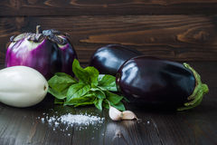 Purple and white eggplant (aubergine) with basil on dark wooden table. Fresh raw farm vegetables - harvest from the gard. Purple and white eggplant (aubergine) Stock Photos