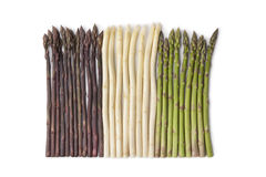 Purple, white and green asparagus Royalty Free Stock Photos