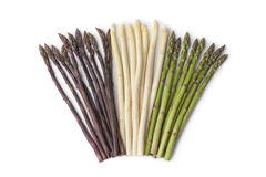 Purple, white and green asparagus Royalty Free Stock Photo