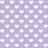 Purple and White Hearts and Stripes Fabric Background Royalty Free Stock Images