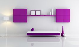 Purple and white living room Royalty Free Stock Image