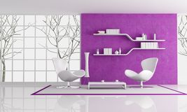 Purple and white lounge Royalty Free Stock Photos
