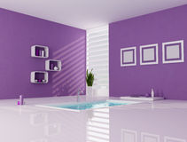 Purple and white minimalist bathroom Stock Image