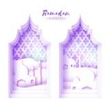 Purple White Origami Mosque Window Ramadan Kareem Greeting card with arabic arabesque pattern. Stock Image