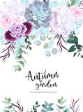 Purple, white and pink flowers vector design card. Rose, carnation, orchid, echeveria succulent, eucalyptus, agonis, hydrangea. Floral border Autumn mood royalty free illustration