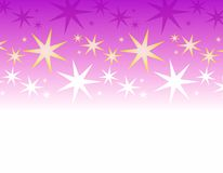 Purple White Stars Border. A border background featuring white and purple stars casually arranged on purple gradient background Royalty Free Stock Photos