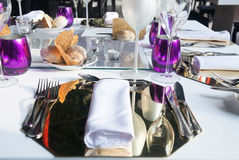 Purple and White Table Set - Elegant - Meals - Food royalty free stock photos