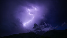Purple and White Thunderstorm at Nightime Stock Image