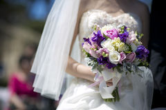 Purple white vintage wedding bouquet stock images