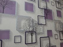 Purple white wallpaper for interior walls. royalty free stock photo