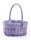 Purple Wicker Basket Isolated on White Stock Photo